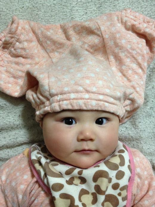 赤ちゃんのお気に帽子